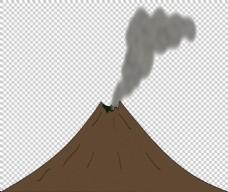 手绘火山喷烟免抠png透明图层素材
