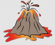 手绘卡通火山免抠png透明图层素材