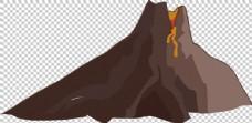 手绘棕褐色火山免抠png透明图层素材