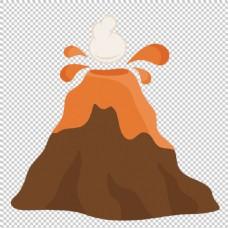 手绘褐色火山免抠png透明图层素材