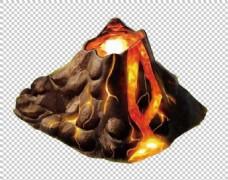 火山喷出熔岩图免抠png透明图层素材
