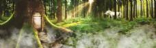 绿色森林淘宝全屏banner背景