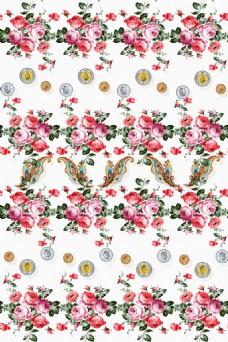手绘花卉欧式元素腰果纹