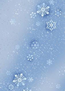 蓝色唯美雪花背景图