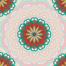 清新多彩曼陀罗花朵背景矢量素材