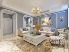 简欧现代混搭室内客厅装饰画效果图设计