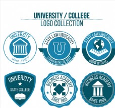 6款蓝色大学标志矢量素材