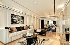 室内客厅无框画现代豪华装修效果图