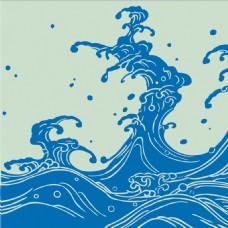 深蓝色花纹无缝背景图
