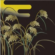 黑色花草植物背景素材