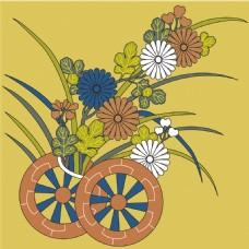 黄色花草轮子花纹背景图