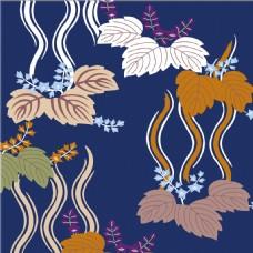 深蓝色叶子花纹背景图