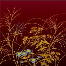 金色花草植物花纹背景图