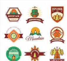 9款户外探险登山标签矢量素材