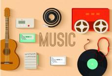 扁平化音乐器材海报背景素材