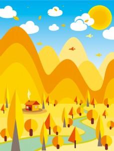 金色扁平几何二十四节气之立秋背景