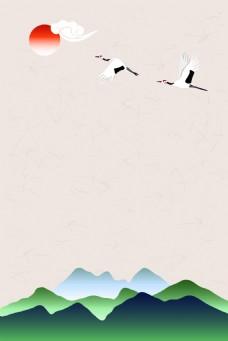 矢量古典古风手绘彩绘山水背景