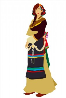 手绘藏族姑娘