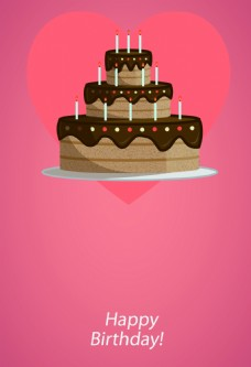 卡通巧克力生日蛋糕海报背景素材