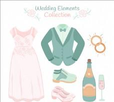 结婚礼服和其他装饰元素