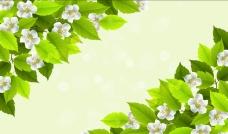 绿叶手绘花朵背景墙