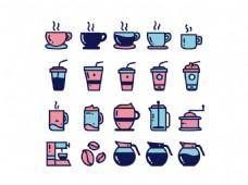 饮料热饮咖啡彩色图标矢量icons