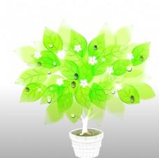 绿叶小花盆栽素材