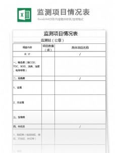 监测项目情况表