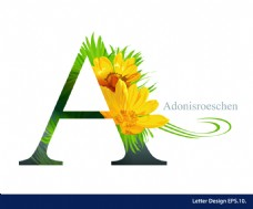 热带菊花英文字母字体设计