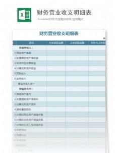 财务营业收支明细表excel表格模板