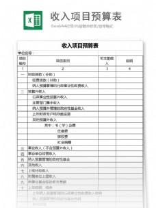 收入项目预算表