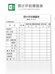 预计评估增值表