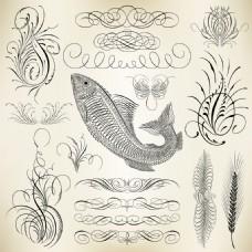 鱼儿装饰元素矢量素材