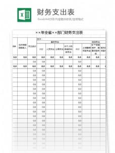 财务支出表xcel表格模板