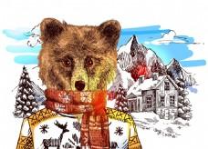 手绘棕熊雪山冬季动物拟人装饰画矢量