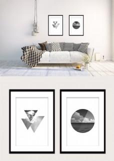 黑白几何圆形三角形风景双拼现代装饰画