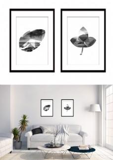 黑白几何叶子形状风景现代装饰画