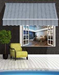 条纹蓬阳蓬窗户椅子绿树背景