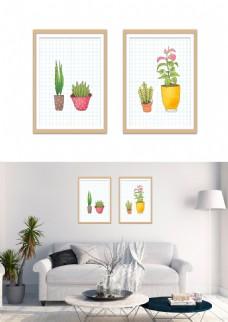 简洁小清新手绘盆栽装饰画