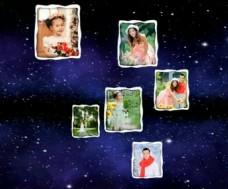 蓝色星空背景下的画中画照片展示模板