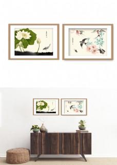 中国风水墨荷花鸟淡雅装饰画