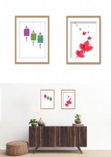 中国风简约灯笼花装饰画