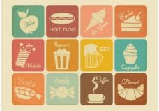 免费复古饮料和食物矢量图标