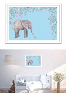 现代极简可爱大象花温馨儿童房装饰画