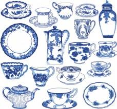 传统艺术青花瓷餐具插画