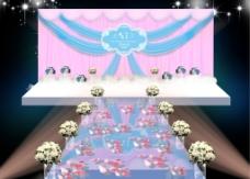 蓝紫布艺场景婚礼效果图