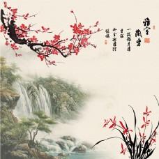雅舍兰香古风梅花山水背景墙