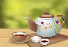 泡茶矢量素材