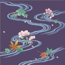 彩色河流花朵装饰图