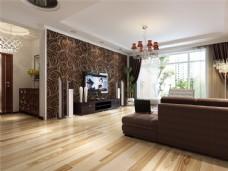 现代简约风格客厅实木木地板3D渲染图